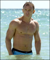 Daniel Craig in his iconic blue bathing suit
