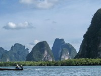 A view of the limestone crags of Phang Nga Bay