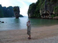 Me standing on the same beach as Roger Moore and Christopher Lee