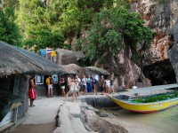 Paying admission at the backside of the beach on James Bond Island in Phang Nga Bay