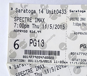 My opening night SPECTRE tickets