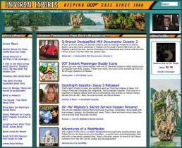 A screenshot of the world's oldest James Bond fansite