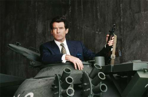 Pierce Brosnan in a tank in GoldenEye
