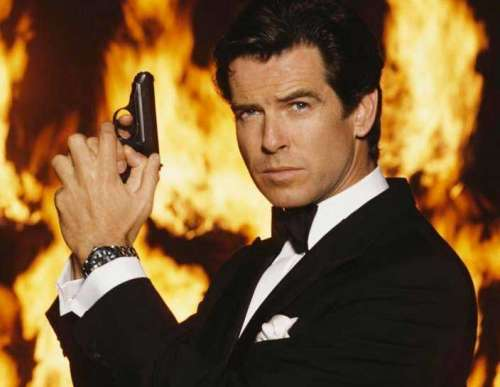 Pierce Brosnan in the fire as James Bond