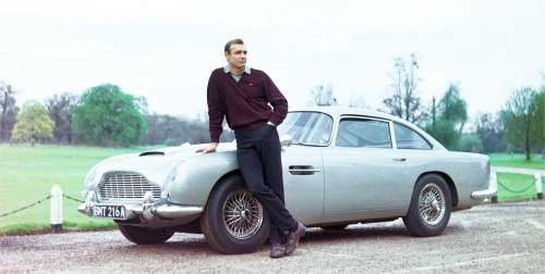 Sean Connery and his Aston Martin DB5 in Goldfinger